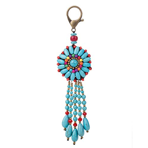 Bohemian Handmade Long Tassels Stone Beaded Woven Bag Round Pendant Charm Keychain Keyring for Handbag (B-green) ()