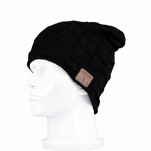 Efanr Bluetooth Music Hat, Wireless Knitted Beanie Cap with Built-in Stereo Headphone Headset Earphone Speakers Mic for Sport Gym Fitness Exercise Outdoor Running (Black)