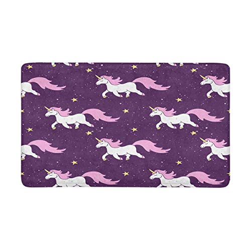 InterestPrint Simple Cute Seamless Pattern with Stars, Magic Rainbow Unicorn Horse Doormat Non Slip Indoor/Outdoor Doormat Floor Mat Home Decor, Entrance Rug Rubber Backing 30