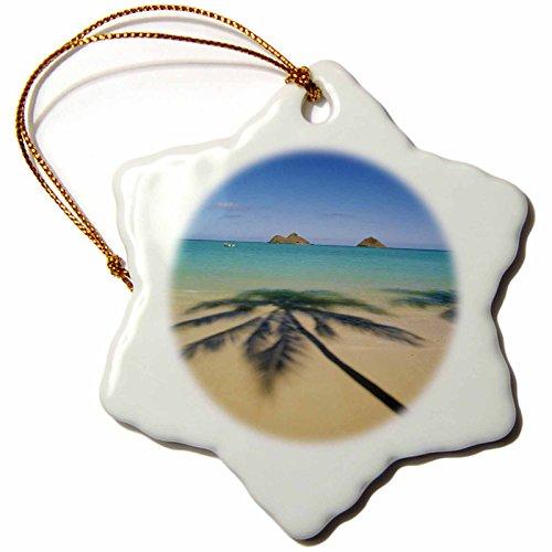 - 3dRose orn_89769_1 USA, Hawaii, Kailua Lanikai Beach-Us12 Dpb1997-Douglas Peebles-Snowflake Ornament, 3-Inch, Porcelain