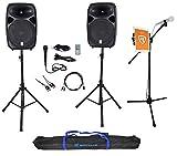 Rockville Dual 15' Karaoke Machine Speaker System w/Mic Stand w/Tablet Mount+Bag