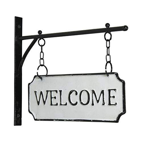 VIPSSCI Metal Welcome Sign on Bracket with Chains Distressed White & Black Double Sided Wall Sign