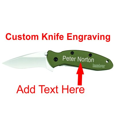 KERSHAW SCALLION 1620OL OLIVE GREEN ASSISTED KNIFE FLIPPER CUSTOM ENGRAVING Kershaw Scallion Green