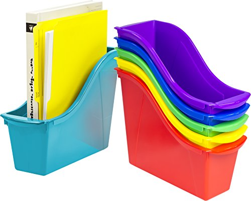 (Storex 70113U06C Small Book Bin, 11.75 x 4.5 x 8.5 Inches, Assorted Colors, Case of 6, Multicolor)