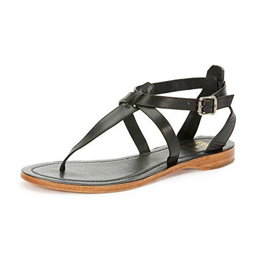 Frye Leather Thongs - FRYE Women's Rachel T Flat Sandal, Black, 10 M US