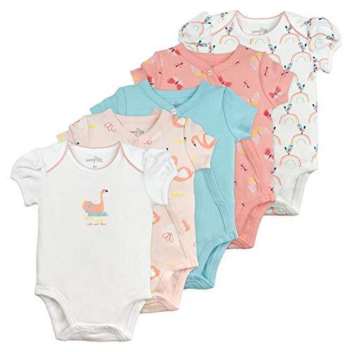 Sunny & Sal 5-Pack Swan Print Short Sleeve & Kimono Wrap Bodysuits (Baby Girls)