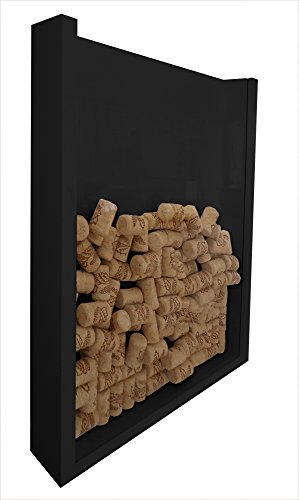 Formalivre Wall Frame Wine Cork Holder Champagne Bottle Caps Holder Decorative - Black Lacquered Champagne Bottle Frame