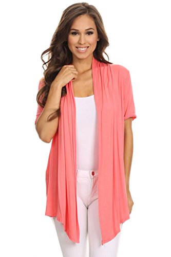 Casual Basic Short Sleeves Open Front Draped Solid Cardigan/Made in USA Coral XL ()