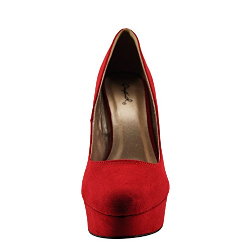 Women's Red Qupid 01 Pump Toe Pitri Faux Closed Suede qRUCz6