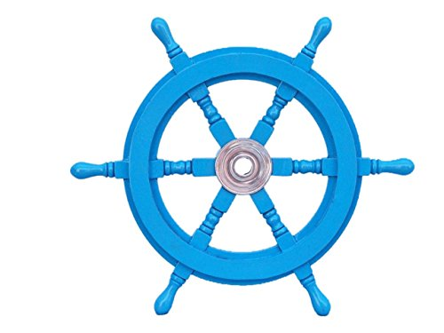 Deluxe Shop Light - Hampton Nautical Deluxe Class Light Blue Wood and Chrome Decorative Ship Steering Wheel 18