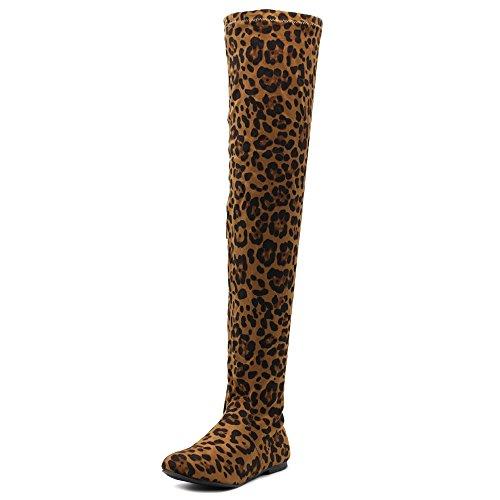 Ollio Women Shoe Adjustable Drawstring Span Faux Suede Thigh-high Zip Up Long Boots TWB11(9 B(M) US, -