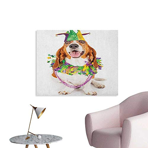 Anzhutwelve Mardi Gras Wall Paper Happy Smiling Basset Hound Dog Wearing a Jester Hat Neck Garland Bead Necklace Poster Paper Multicolor W28 xL20
