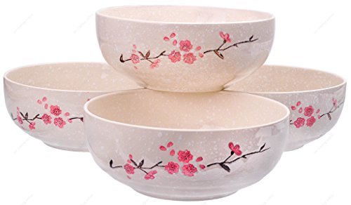 M.V. Trading SN6685S4 X-Large Ceramic Ramen / Pho Soup Noodle Bowl with Sakura Design, 56-Ounces (7 Cups), 8-1/2 Inches (W) x 3-1/2 Inches (H), Set of 4