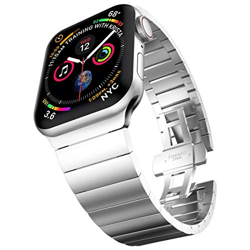 baozai Compatible with Apple Watch Band 44mm 42mm, Upgraded Stainless Steel Link Bracelet iWatch Band with Butterfly Clasp for Apple Watch Series 4/3/2/1 Men (Silver)