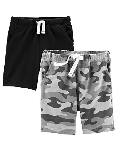 Carter's Toddler Boys 2 Pack Pull-On French Terry Soft Shorts (3T, Black and Camo)