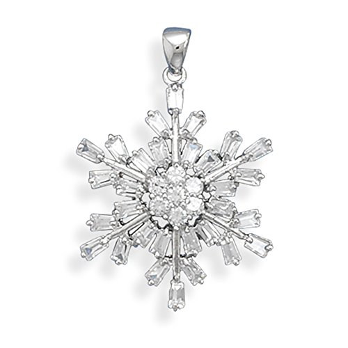 Snowflake Pendant Rhodium Over Sterling Silver and 37 CZ stones, Pendant Only - Rhodium Snowflake Pendant
