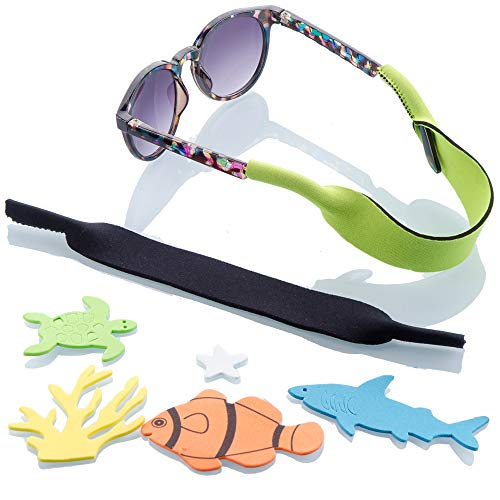 Baby Glasses and Sunglasses Strap 2pk | Active Kids with Bonus Stickers (Green + Black)