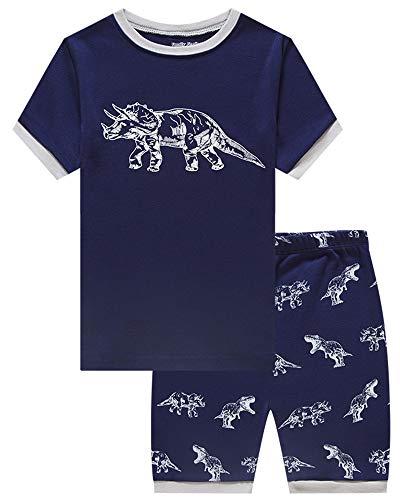 Family Feeling Big Boys Dinosaur Glow in The Dark Summer Pajamas Short Sets 100% Cotton Pjs Kid -