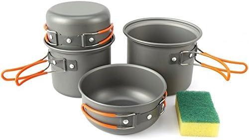 KEMP - Batería de cocina para acampada, 4 piezas, compacta ...