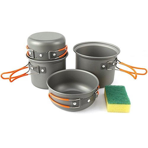 KEMP Travel Camping Cookware - Backpacking Cooking Equipment - 4pcs compact, lightweight anodized pot & pan - Nonstick Cookset - Hiking Mess Kit - Outdoor Gear- Camp Kitchen - Camping Utensil Set by KEMP Travel