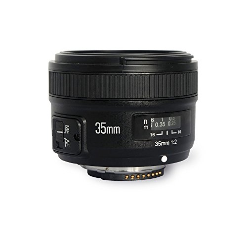 YONGNUO YN35mm F2 Lens 1:2 AF/MF Wide-Angle Fixed/Prime Auto Focus Lens for Nikon DSLR Cameras