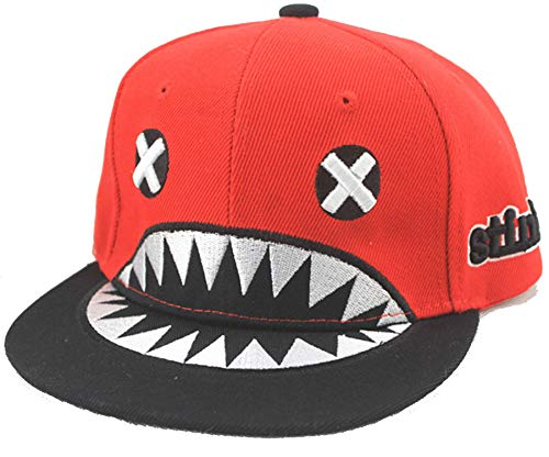 LONIY] New Children Snapback Caps Baseball Cap Embroidery Kids Shark Cartoon Flat Hip Hop Hat Last Kings (Hat Last King Red)