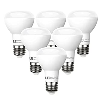 LE 6 Pack BR20 LED Light Bulbs Dimmable, 45W Incandescent Bulbs ...:LE 6 Pack BR20 LED Light Bulbs Dimmable, 45W Incandescent Bulbs Equivalent,  8W, LED Recessed Can Lights, 450lm, Warm White, 2700K, 110 Beam, E26  Base,LED ...,Lighting