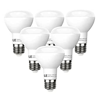 LE 6 Pack BR20 LED Light Bulbs Dimmable, 45W Incandescent ...