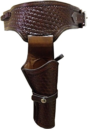 44/45 Caliber Weave Pattern Western Leather Gun Holster Size 40