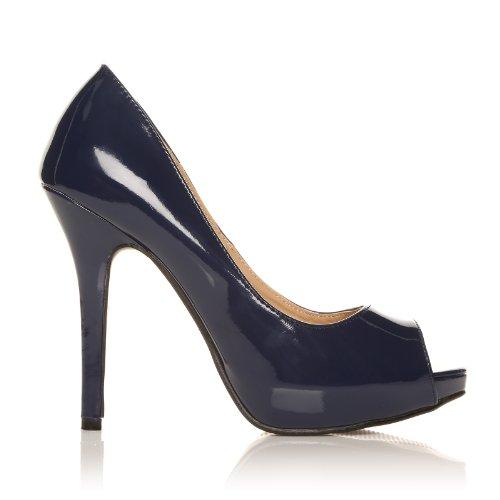 TIA - Chaussures à talons aiguilles - Plateforme - Bout ouvert - Bleu marine - Vernis