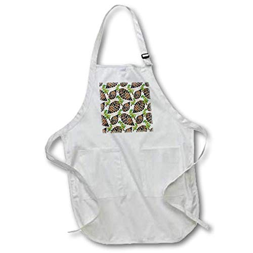 3dRose Anne Marie Baugh - Christmas - Chic Image of Watercolor Pinecones Pattern - Full Length Apron with Pockets 22w x 30l (apr_318524_1) ()