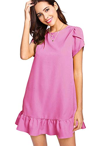 - Verdusa Women's Round Neck Petal Short Sleeve Ruffle Hem Tunic Dress Hot Pink M