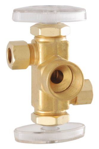 LDR 537 5802RB 1/2-Inch FIP by 3/8-Inch Comp by 3/8-Inch Comp Dual Outlet Double Handle Shut-Off Angle Valve Low Lead, Rough Brass