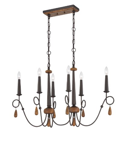 Eurofase 25592 Corso 6-Light Oval Chandelier, Wood With Rustic Iron