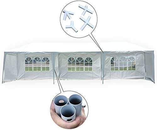 MCombo 10×30 Feet Outdoor Heavy Dute Canopy Tent Wedding Party Waterproof Gazebo Pavilion with Removable Sidewalls 6052 10 x30 -5pc with Metal Connector