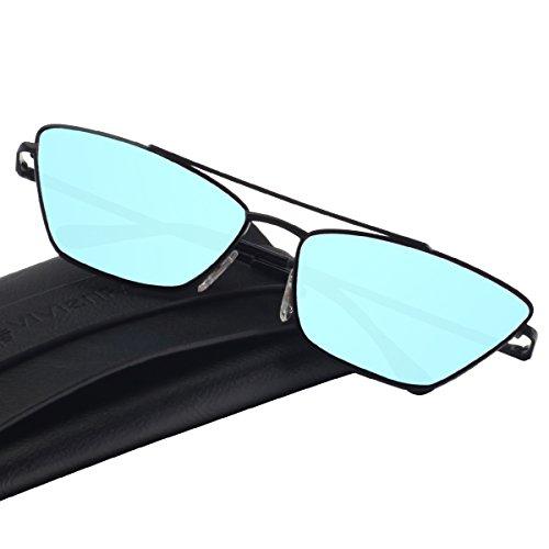 VIVIENFANG Retro Vintage 90s Slim Cat Eye Sunglasses Metal Frame Square Shade For Unisex With Spring Hinge G87803A Black (Slim Cat Eye Sonnenbrille)