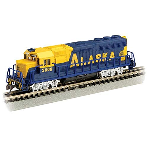 Gp40 Diesel Locomotive - Bachmann Emd GP-40 Locomotive with Operating Headlight-Alaska #3008 (with Dynamic Brakes) N Scale Diesel, Prototypical Yellow and Blue