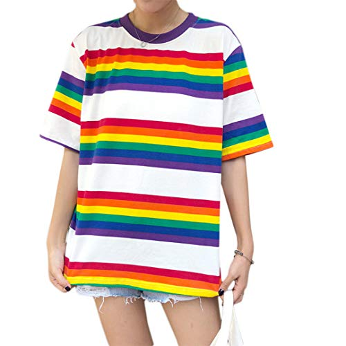 Haoohu Women's Colorful Stripe T-Shirt Rainbow Round Neck Short Sleeve Basic Shirt Top Blouse ()