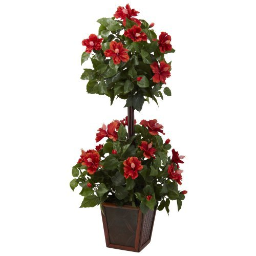Nearly Natural 6726 Hibiscus Topiary, 39-Inch, Red/Green