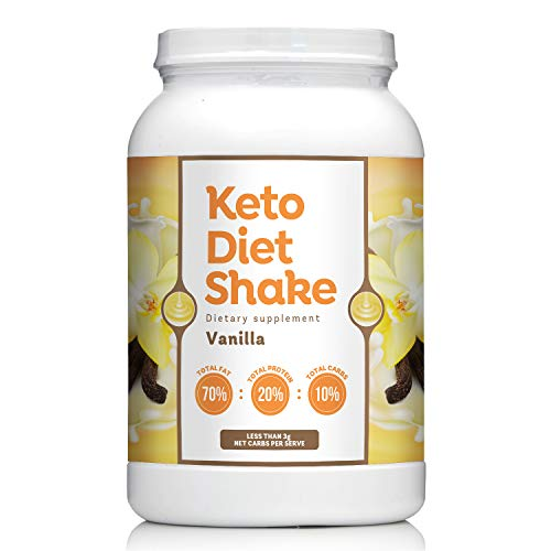 Keto Diet Shake with 70:20:10 Ratio Keeps You In Ketosis-Perfect For Low Carb High Fat Lifestyle - Less than 3g Net Carbs per Serve - Vanilla Flavor - 27 Servings