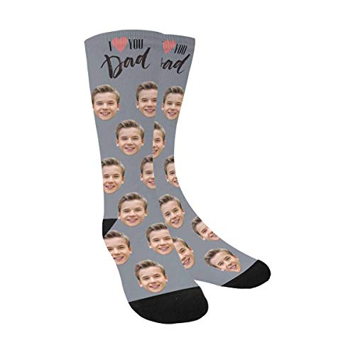 Custom Personalized Printed Photo Socks, Turn Your Picture Face into I Love You Dad Gray Crew Socks Father's Day