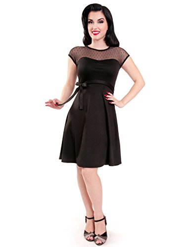 Steady-Clothing-Mod-60s-Lovely-Pinup-Sheer-Lace-Polka-Dot-Little-Black-Dress