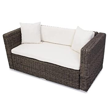 Lounge sofa rattan  Polyrattan Grau Garten Gartensofa Poly - Rattan Sofa naturgrau ...