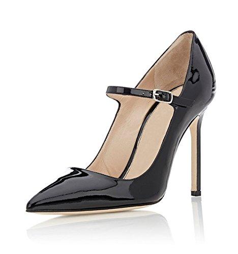 Soireelady Womens High Heel Pumps Mary Jane Court Shoes Office 10CM Stilettos Black clearance eastbay 2014 unisex cheap online sale Cheapest W4TX9K
