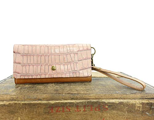 (Women's Clutch Wallet in Pink Croc Embossed Leather with RFID Blocking)
