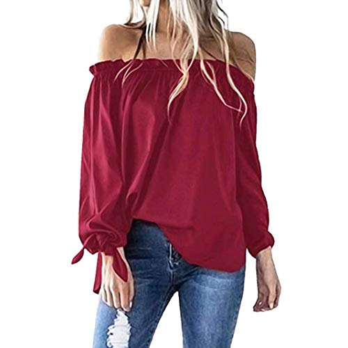 - Off Shoulder Tops,Toimoth Women Casual Boat Neck Long Sleeve Cold Shoulder T-Shirt Tunic Top Blouse (Red,L)
