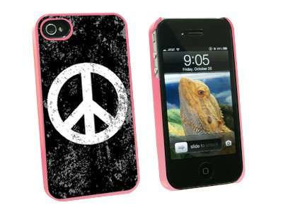 Graphics and More Peace Sign Distressed Inspirational Snap-On Hard Protective Case for Apple iPhone 4/4S - Non-Retail Packaging - Pink
