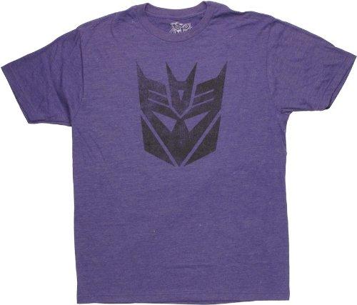 Transformers Deceptivent Men's Slim Fit T-Shirt, Purple Heather, X-Large Transformers Sheer T-shirt