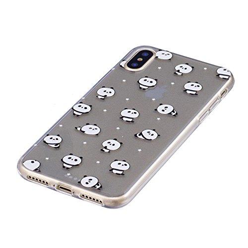 iPhone X Hülle Kleiner Panda Premium Handy Tasche Schutz Transparent Schale Für Apple iPhone X / iPhone 10 (2017) 5.8 Zoll + Zwei Geschenk