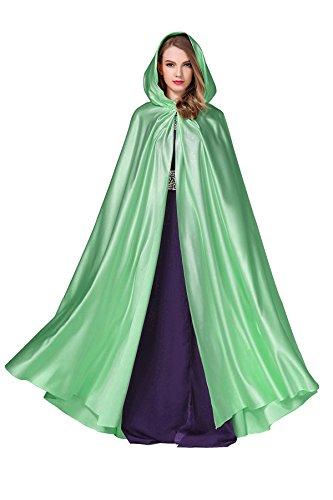 BEAUTELICATE Women's Wedding Hooded Cape Bridal Cloak Poncho Full Length Aquamarine